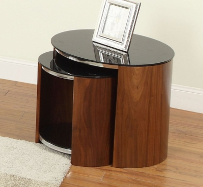 Jual Curve Walnut Nest of Table - Glass JF305