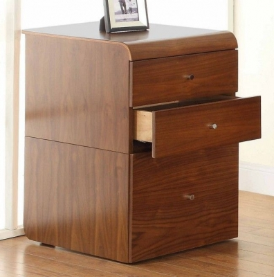 Jual Curve Walnut 3 Drawer High Desk Pedestal PC605