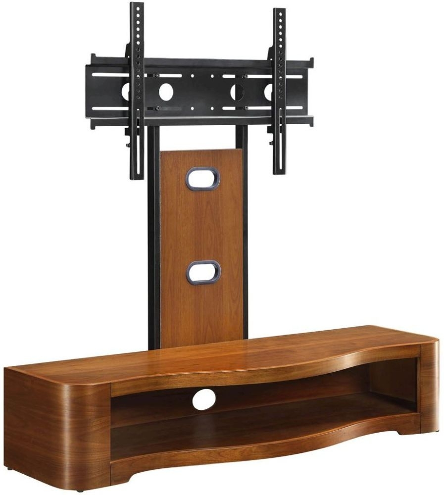 Jual Curve Walnut Cantilever TV Stand JF210