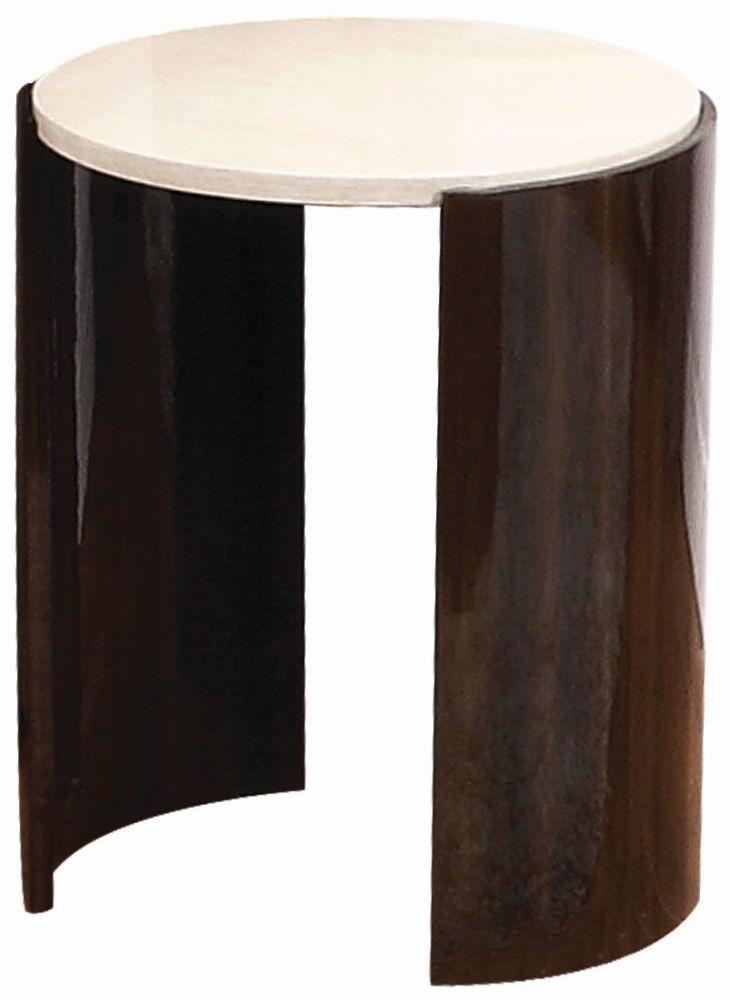 Jual Milan Walnut and Cream High Gloss Large Lamp Table JF903