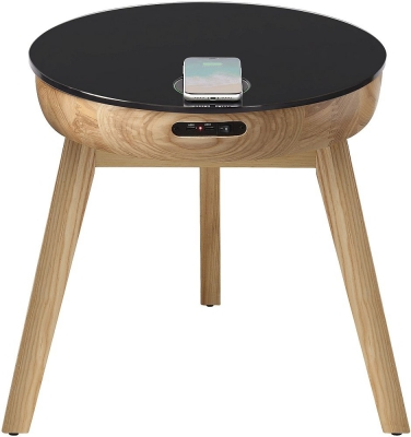 Jual San Francisco Oak and Black Glass Smart Lamp Table - JF710GLASS