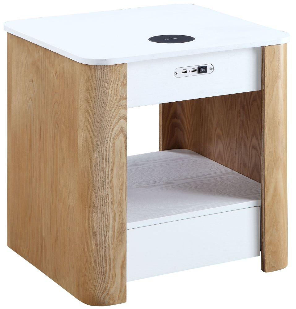 Jual San Francisco White Ash Square Bedside Cabinet - JF403