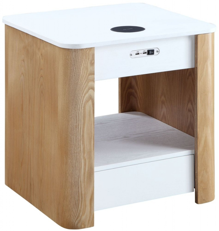 Jual San Francisco White Ash Square Bedside Cabinet with Bluetooth Speakers - JF404