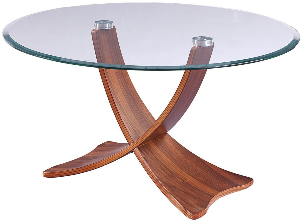 Jual Siena Walnut with Glass Top Round Coffee Table - JF308