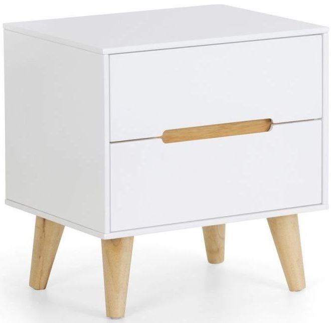 Julian Bowen Alicia White and Oak 2 Drawer Bedside Cabinet