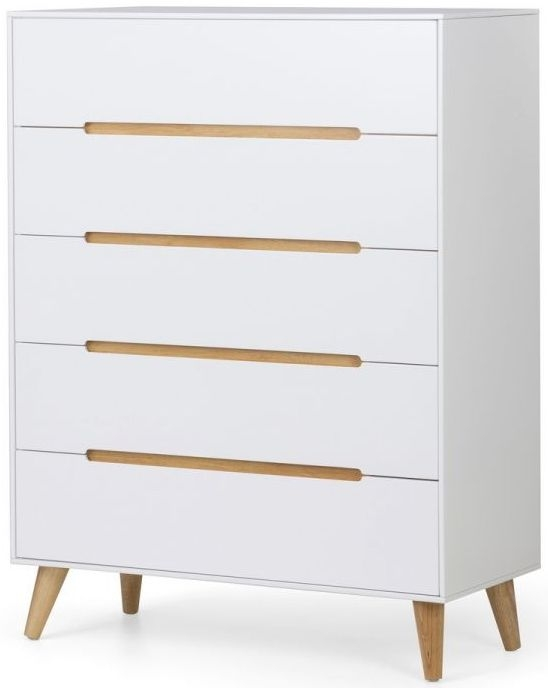 Julian Bowen Alicia Matt White 5 Drawer Chest