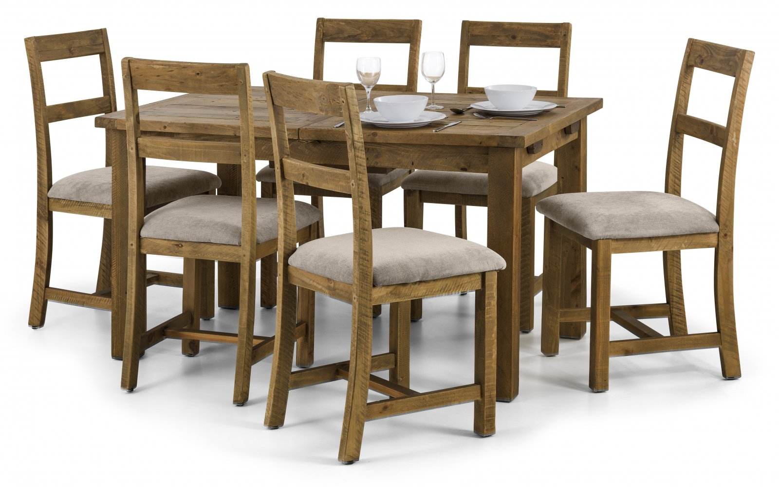 Julian Bowen Aspen Rectangular Extending Dining Set with 6 Chairs - 140cm-180cm