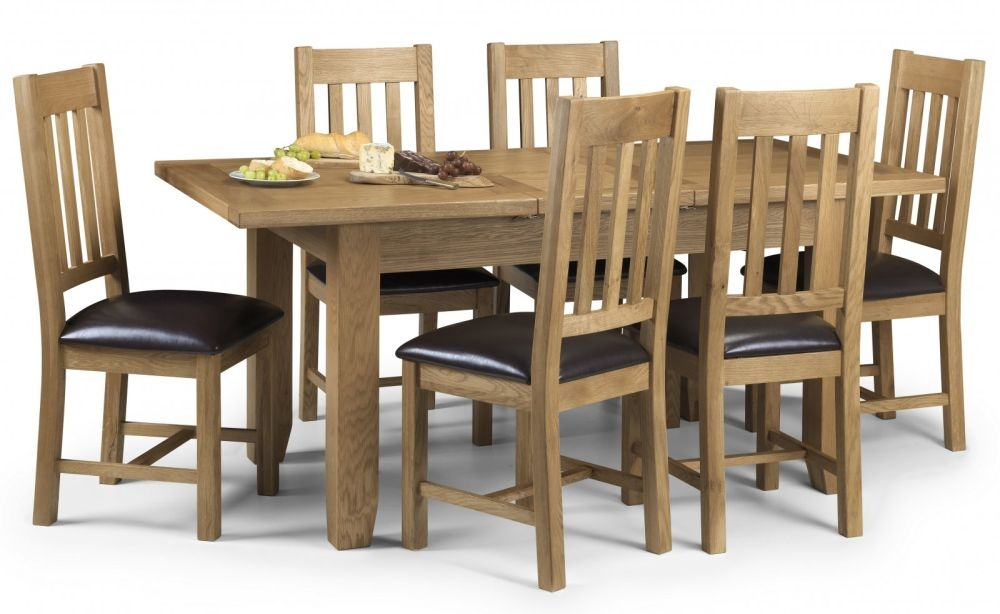 Julian Bowen Astoria Oak Rectangular Extending Dining Set with 6 Chairs - 140cm-180cm