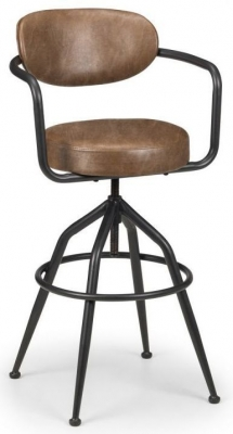 Julian Bowen Barbican Brown Faux Leather Bar Stool