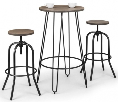 Julian Bowen Spitfire Industrial Mocha and Black Round Bar Table and 2 Stools