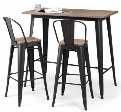Julian Bowen Grafton Mocha and Black Bar Table and 2 Stools