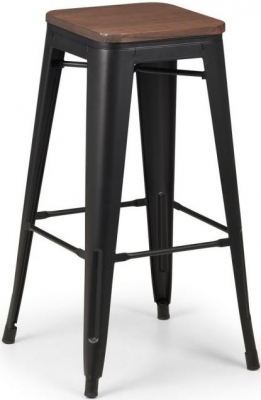 Julian Bowen Grafton Black Metal Bar Stool (Set of 4)