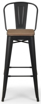 Julian Bowen Grafton Mocha and Black Metal Bar Stool