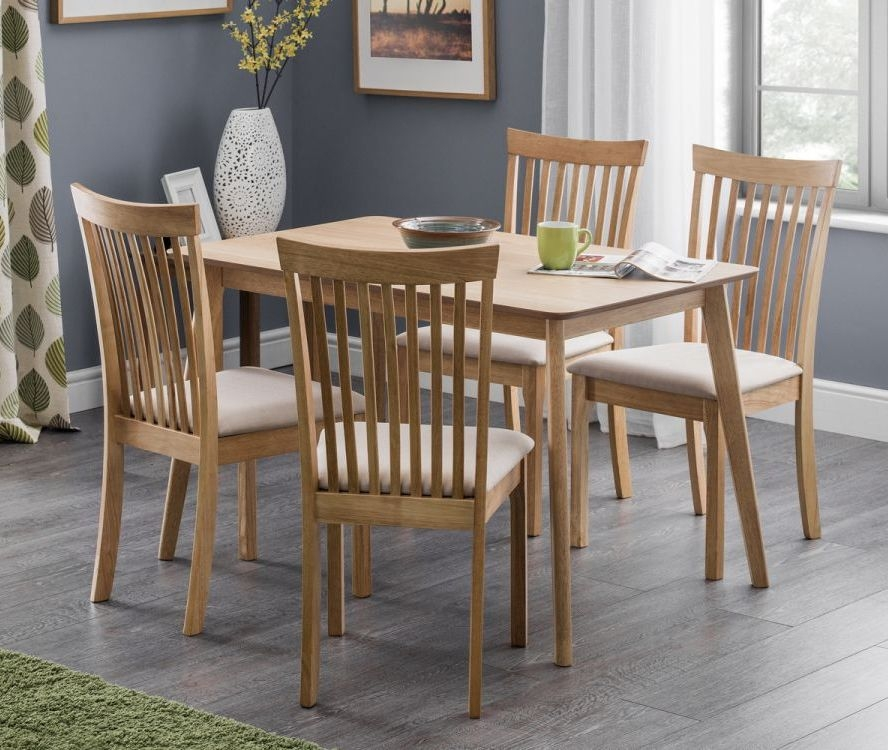 Julian Bowen Boden Oak Dining Table and 4 Ibsen Chair