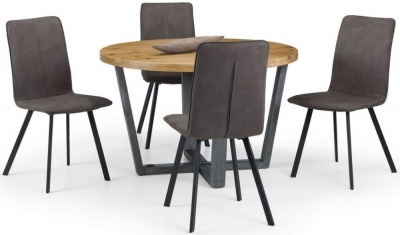 Julian Bowen Brooklyn Rustic Oak Round Dining Table and 4 Monroe Chairs