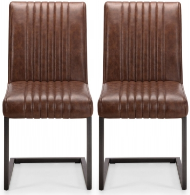 Julian Bowen Brooklyn Rustic Oak Brown Faux Leather Dining Chair (Pair)