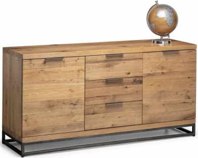 Julian Bowen Brooklyn Rustic Oak 2 Door 3 Drawer Sideboard