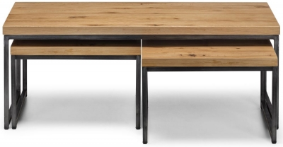 Julian Bowen Brooklyn Rustic Oak Nest of Coffee Tables