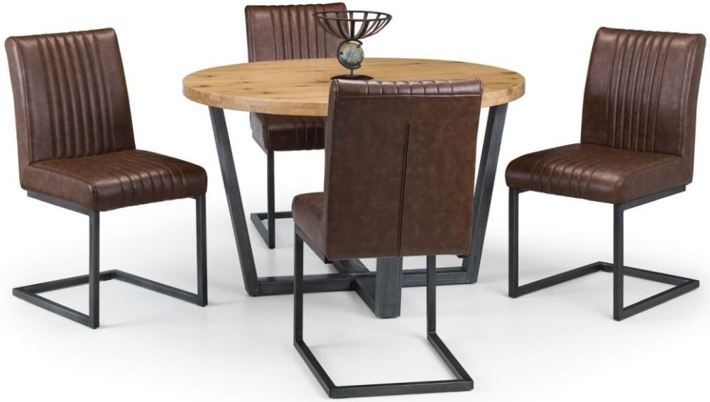 Julian Bowen Brooklyn Rustic Oak Round Dining Table and 4 Brown Faux Leather Chairs