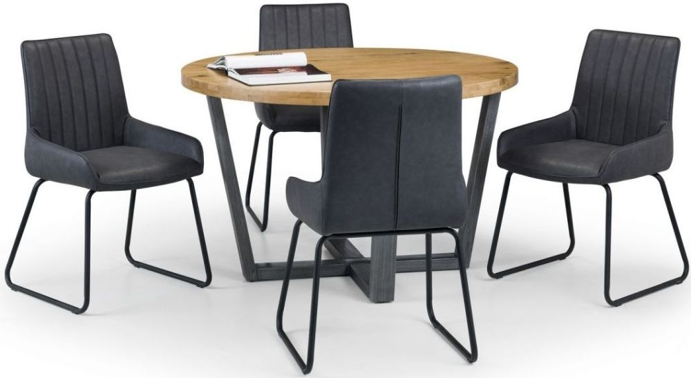 Julian Bowen Brooklyn Rustic Oak Round Dining Table and 4 Soho Chairs