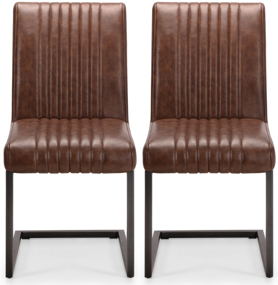 Julian Bowen Brooklyn Rustic Oak Brown Faux Leather Dining Chair (Pair)