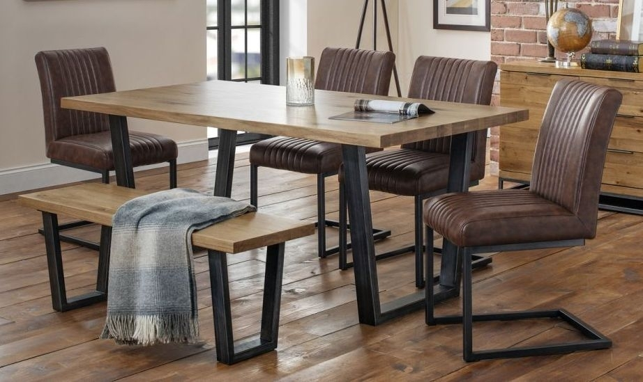 Julian Bowen Brooklyn Oak Dining Table and 4 Brown Faux Leather Chair and 1 Bench