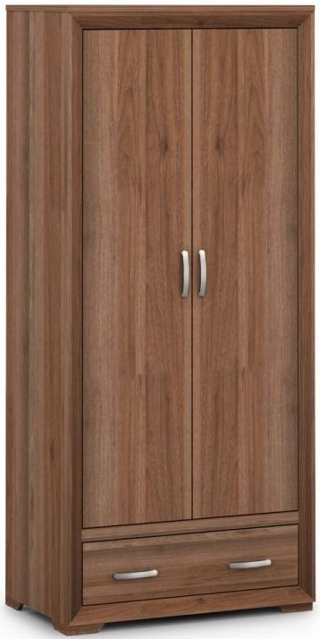 Julian Bowen Buckingham Walnut 2 Door 1 Drawer Double Wardrobe