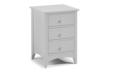 Julian Bowen Cameo Dove Grey 3 Drawer Bedside Cabinet