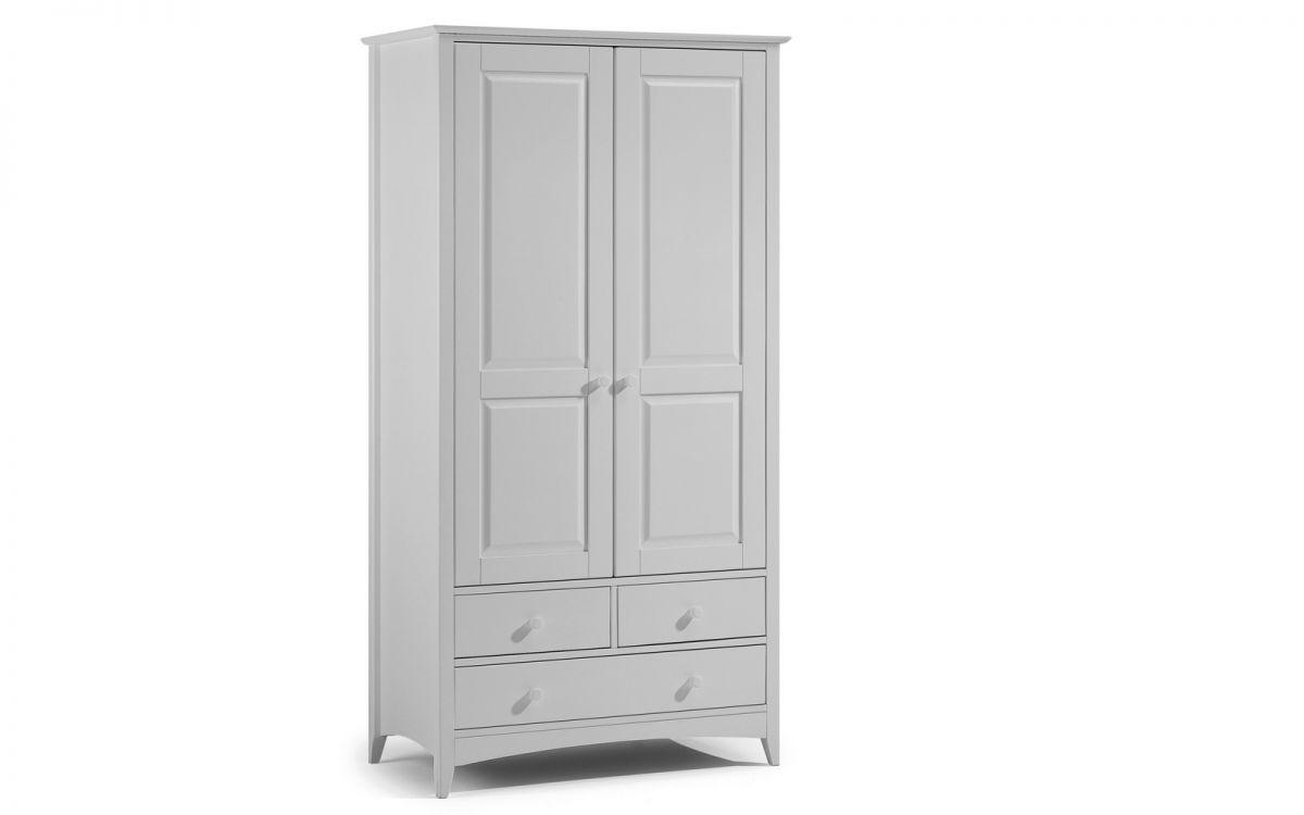 Julian Bowen Cameo Dove Grey 2 Door 3 Drawer Wardrobe