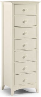 Julian Bowen Cameo Off White Chest of Drawer - Narrow 7 Drawers