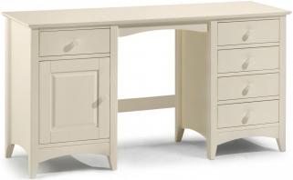 Julian Bowen Cameo Off White Dressing Table - Twin Pedestal 1 Door 5 Drawers