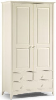 Julian Bowen Cameo Off White Wardrobe - Combination 2 Doors 3 Drawers