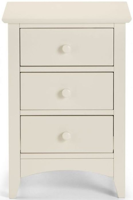 Julian Bowen Cameo Off White 3 Drawer Bedside Cabinet