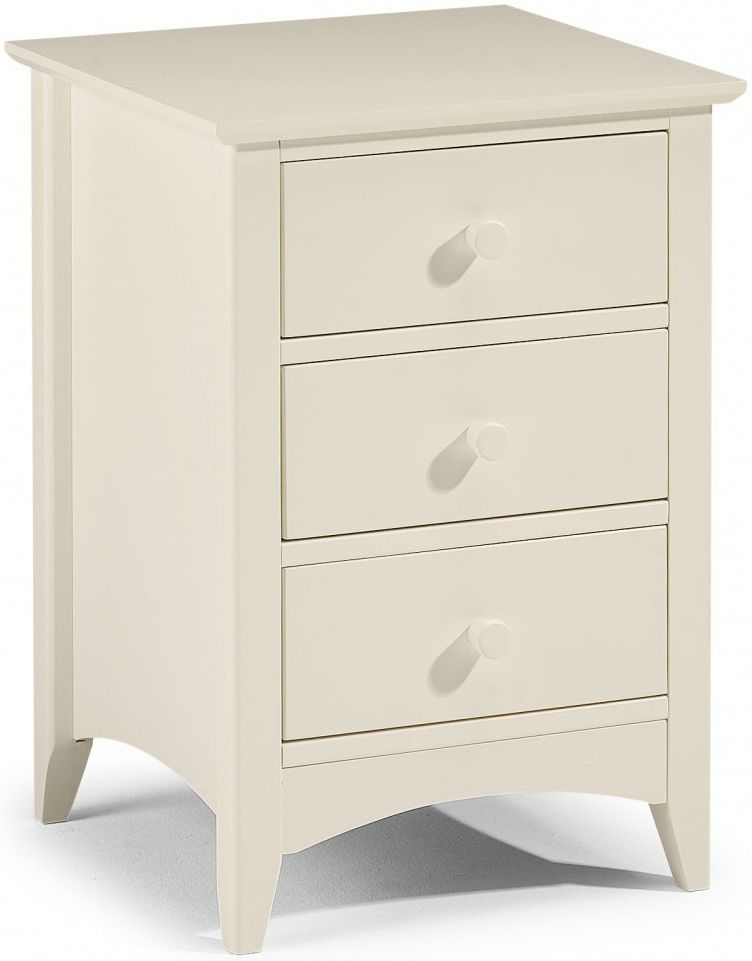 Julian Bowen Cameo Off White Bedside Cabinet - 3 Drawers