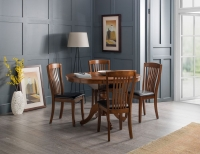 Julian Bowen Canterbury Mahogany Round to Oval Extending Dining Set with Brown Faux Leather Chair