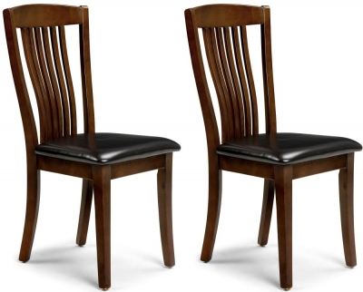 Julian Bowen Canterbury Faux Leather Dining Chair (Pair) - Mahogany and Brown