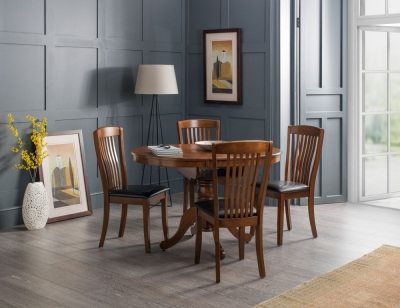 Julian Bowen Canterbury Round Extending Dining Table and 4 Faux Leather Chair - Mahogany and Brown