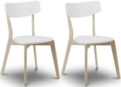 Julian Bowen Casa Dining Chair (Pair) - White and Oak