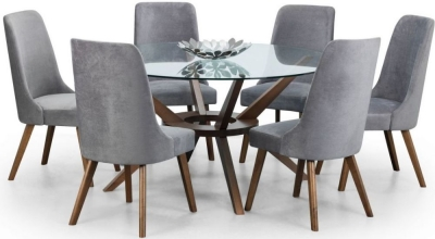 Julian Bowen Chelsea Walnut and Glass 140cm Round Dining Table and 6 Huxley Chairs