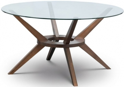 Julian Bowen Chelsea Walnut and Glass 140cm Round Dining Table