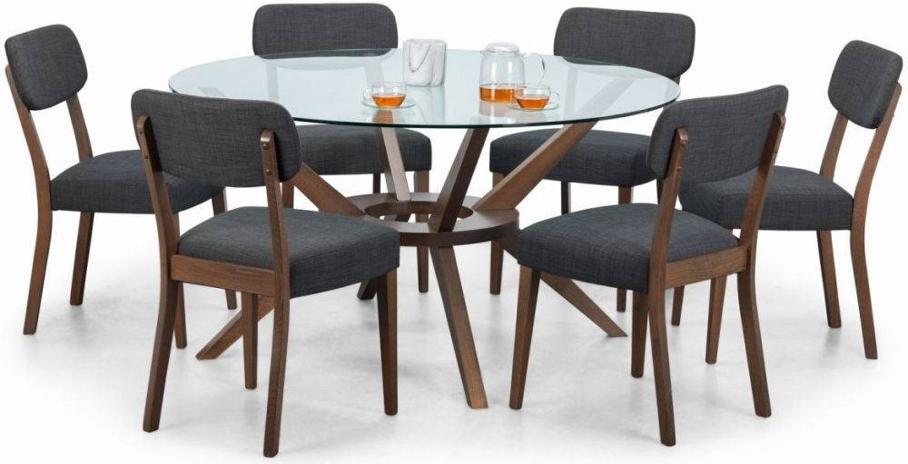 Julian Bowen Chelsea Walnut and Glass 140cm Round Dining Table and 6 Farringdon Chairs