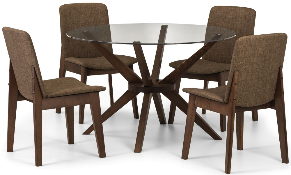 Julian Bowen Chelsea Round Dining Table and 4 Kensington Chairs - Walnut and Glass