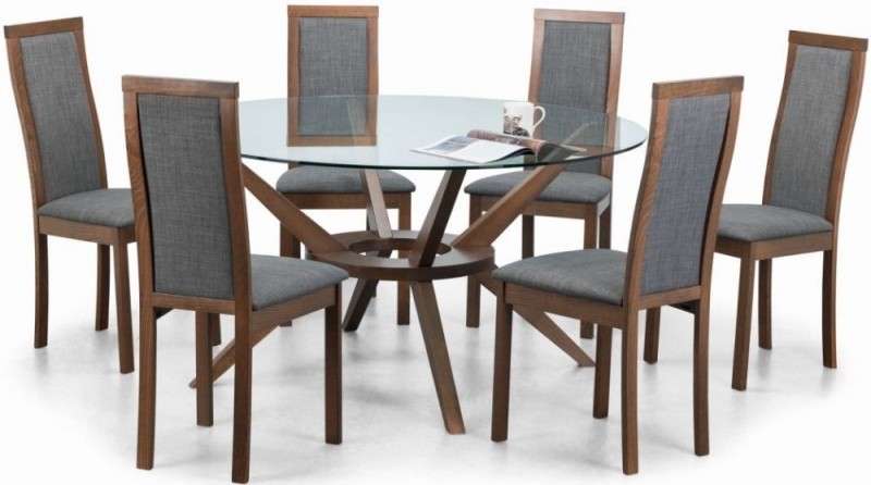 Julian Bowen Chelsea Walnut and Glass 140cm Round Dining Table and 6 Melrose Chairs
