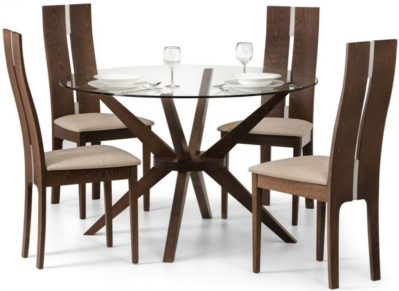 Julian Bowen Chelsea Round Dining Table and 4 Cayman Chairs - Walnut and Glass