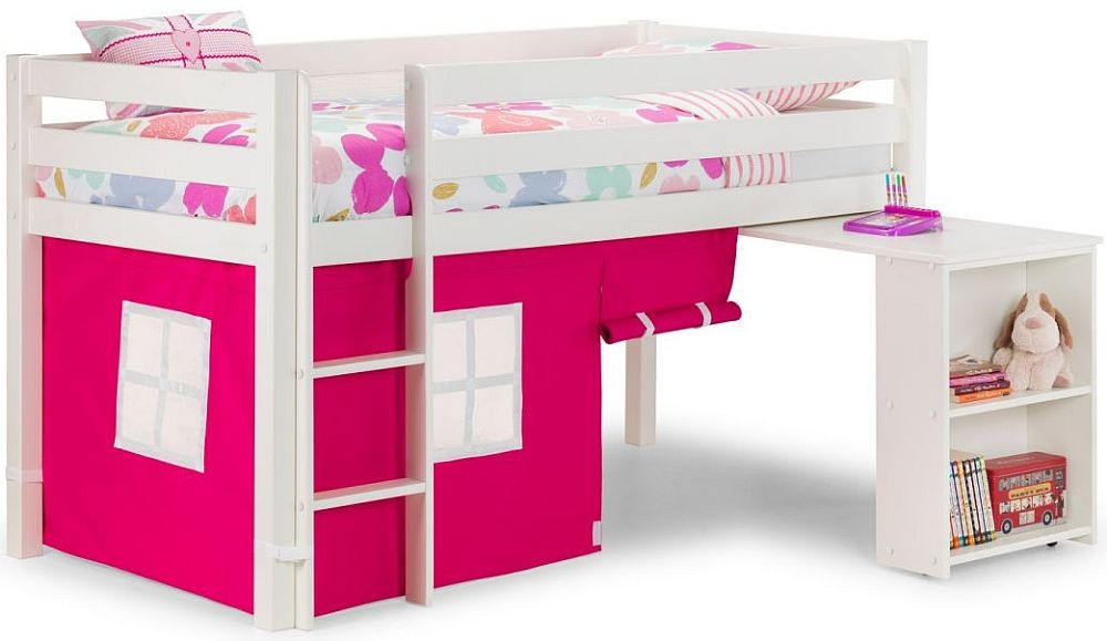 Julian Bowen Wendy White Sleeper Bed with Pink Curtains