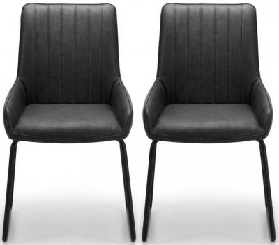 Clearance - Julian Bowen Soho Antique Black Dining Chair (Pair) - New - E-133
