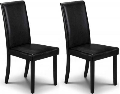 Clearance - Julian Bowen Hudson Black Faux Leather Dining Chair (Pair) - New - E-112