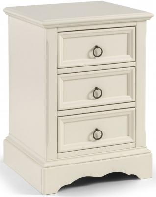 Clearance Julian Bowen La Rochelle White Bedside Cabinet - 3 Drawer