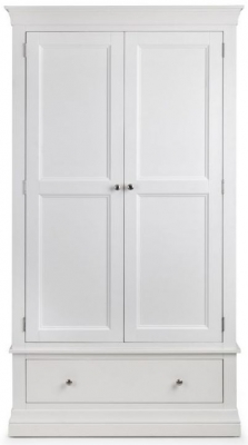 Julian Bowen Clermont White 2 Door 1 Drawer Wardrobe