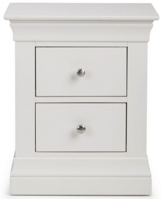 Julian Bowen Clermont White 2 Drawer Bedside Cabinet
